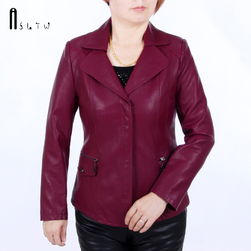 XL-6XL   Leather   Jacket Women 2018 New Spring And Autumn Washed PU   Leather   Turn Down Coat Slim Women's   Leather   Jacket