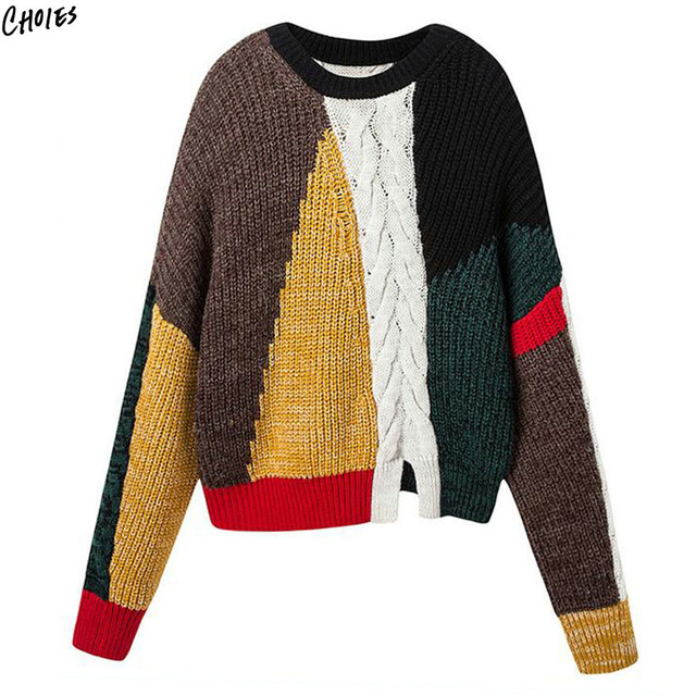 36a2b1e59c27b0 Color Block Winter Jumper Chunky Cable Knitted Sweater Women Long Sleeve O  Neck Silt Front Drop Shoulder Novelty Pullover Top