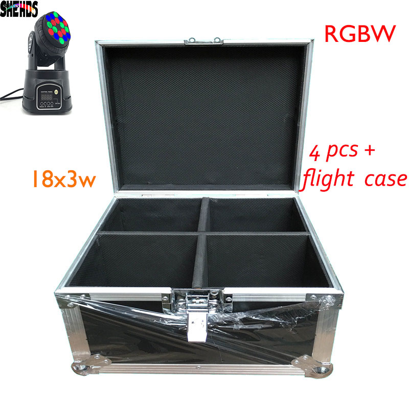 Flight Case 2018 HOT 18X3W Beam Moving Head Light RGBW LED Wash Moving Stage Lighting, 2 pcs , 4 pcs , 6pcs or 8 pcs