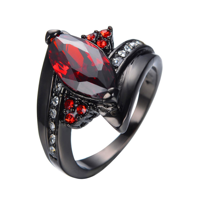 2016 Luxury Marquise Cut Red Ring Red Garnet Women Charming