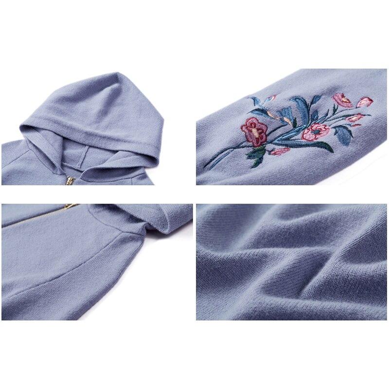 Veste Fermeture Tricoté Nouveauté Printemps Manteau De Longues Blue Pull Glissière Femmes Capuchon Grey 2019 Gilet À Broderie Manches Avec Mode Chandail vUpacOqY0x