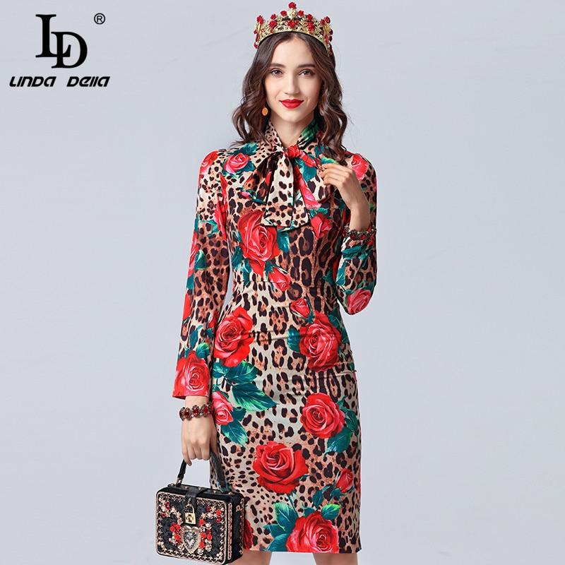 LD LINDA DELLA Fashion Designer Dress Women's Long Sleeve Bow Collar Sexy Leopard Printed Rose Floral Elegant Dress vestidos