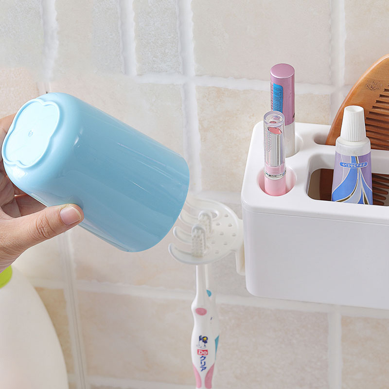 Suction Toothbrush Holder Set Wall Mounted Bathroom Toothpaste Plastic Shelves Home Storage Shaver Rack Shelf Accessories in Toothbrush Toothpaste Holders from Home Garden