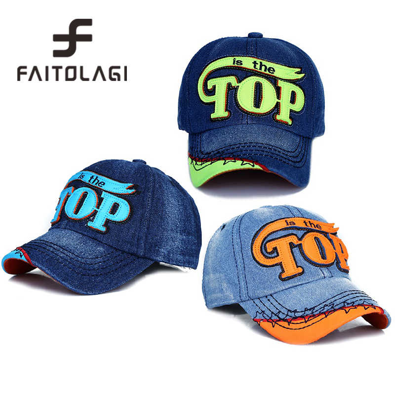 f2f65b9b1a1 Fashion TOP denim Baby Kids Baseball Cap snapback Hats Jean Boys Girls sun Hat  casquette for