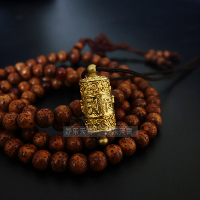Copper Tibet Prayer Wheel Pendant Necklace,Freely rotate smoothly, Exquisite and delicate carved prayer mantra,Metal crafts