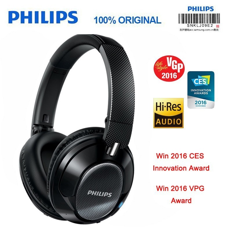 Original Philips SHB9850 Wireless Bluetooth Headphones Active Noise Cancelling with Microphone NFC Headset Official Verification e 3lue ebt922 nfc bluetooth headset black