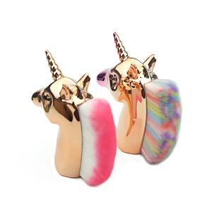 Image 4 - Unicorn Makeup Brushes Unicorn horse Rainbow Holder For Powder Foundation Blush Contour Big Make up unicornio pincel Beauty Tool