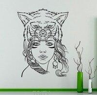 Menina bonito Máscara de Lobo Selvagem Animais Vinil Adesivo Decalque Da Parede Natureza selvagem Interior Home Decor Art Murais Sala de estar Quarto decoração