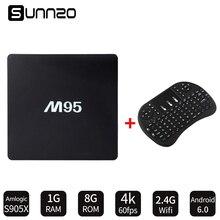 SUNNZO M95 Inteligente Android 6.0 TV Box 1 + 8 GB Amlogic S905X Quad-Core Set-top Box 4 K Wifi Totalmente instalado Kodi + Wireless teclado