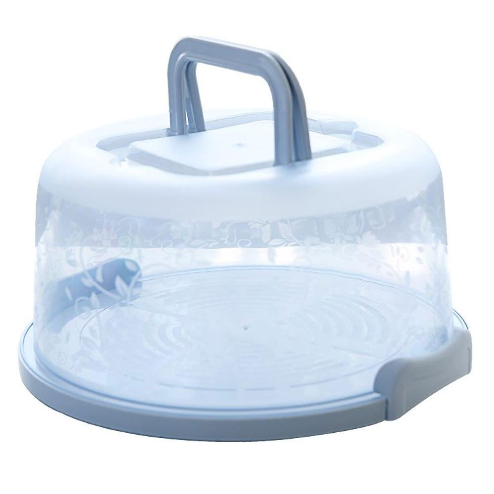 Коробка для торта пластиковая круглая ручной кухонный инструмент для украшения свадебного торта День рождения без деформации коробка для хранения торта Контейнер для кексов - Цвет: blue