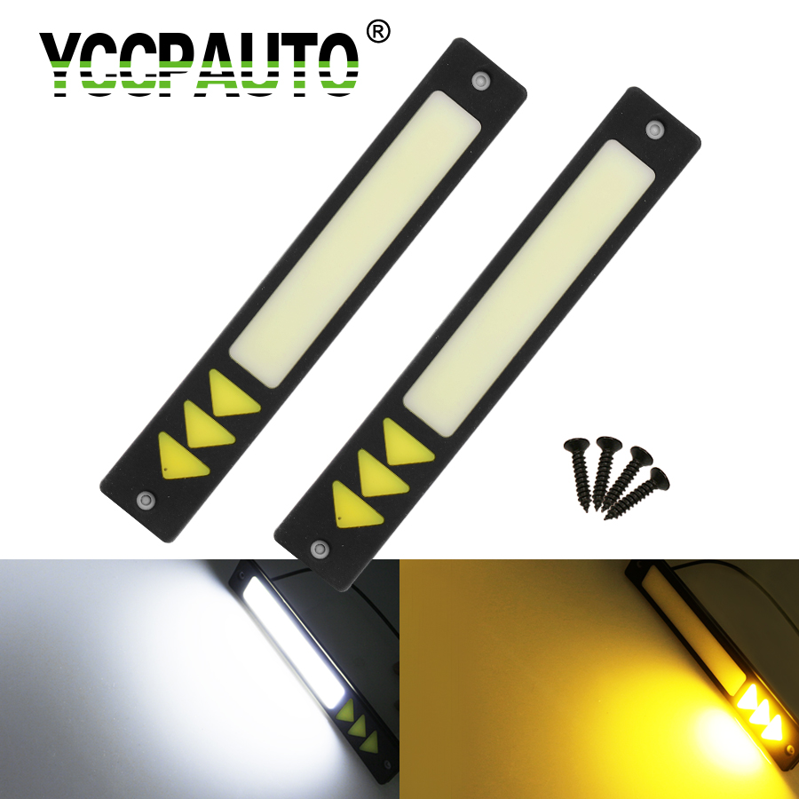 YCCPAUTO Car Daytime Running Lights LED Dual Color Car-Styling DRL External Waterproof White/Yellow Led Fog Light 2PCS 2pcs led car fog lamp super bright 1000lm waterproof drl eagle eye light external lights daytime running lights