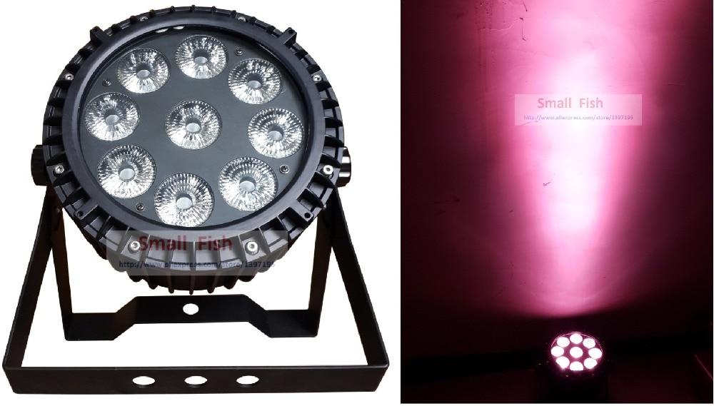 2015 Waterproof Flat Led Par Light 9X10W 4in1 RGBW Led Stage Light IP65 Slim Par Can Strobe Laser DMX512 DJ Disco Effect Lights