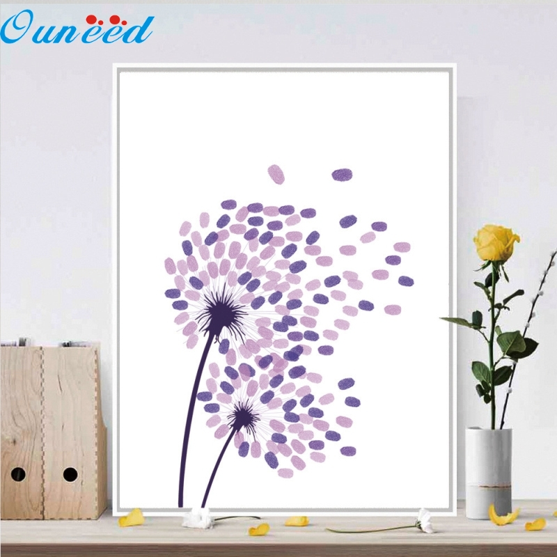 Ouneed Happy Creative Gift Canvas Wedding Tree Fingerprint Guest Book Wedding Gift Decoration Party Supply 1 Piece 30x42cm personalize wedding tree guest book alternative wedding tree fingerprint guestbook thumbprint books get 6 ink pads free
