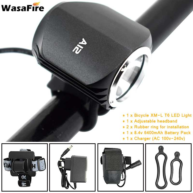 WasaFire Bicycle Front Light Headlight 2000lm XM-L T6 LED 4 Modes 6400mA Rechargeable Battery Pack Bike Light Cycling Frontlight 3 6v 2400mah rechargeable battery pack for psp 3000 2000