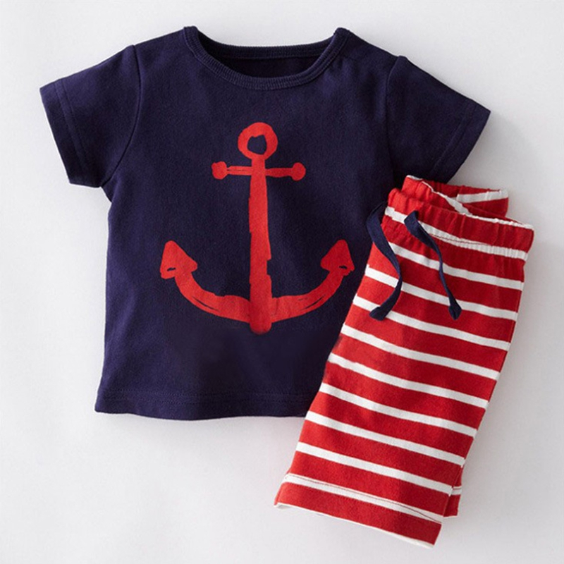 NEAT JTH Summer new casual boys children s clothing baby boy pirate ship cartoon printing children s wear cotton suit A1059 ...