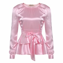 LETEOO Ruffles Long Sleeve Silk Blouse Ladies Tops Casual Bow Tie Satin Blouse Women Blouses White Shirt Camisas Mujer Pink L30