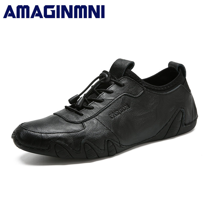 AMAGINMNI 2018 Fashion Spring-Autumn shoes men casual breathable flats high quality comfortable luxury Genuine Leather shoes top brand high quality genuine leather casual men shoes cow suede comfortable loafers soft breathable shoes men flats warm