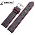 18 20 21 22 23 24mm Pulseira faixa de relógio de Fibra de Carbono cinta Preta Com pontos Vermelhos de Couro Macio Forro Fecho de Aço Inoxidável