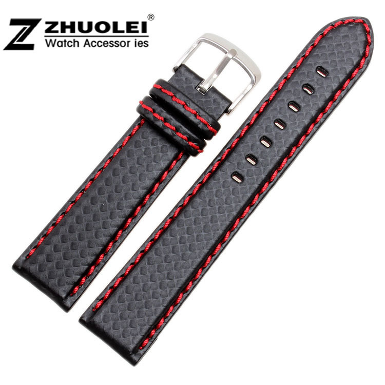 18 20 21 22 23 24mm Watchband Carbon Fibre watch band Strap Black With Red stitches Soft Leather Lining Stainless Steel Clasp все цены