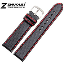 18 20 21 22 23 24mm Watchband Carbon Fibre watch band Strap Black With Red stitches Soft Leather Lining Stainless Steel Clasp