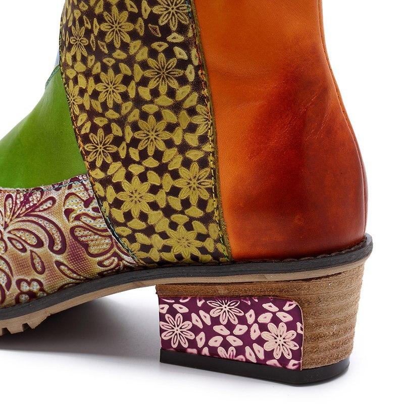 Genuino Color Tacón Patchwork Cremallera Estampado Chic Étnicas Botas Mixed Buonoscarpe Flores Tiempo Mujer Zapatos Media Cuero Pantorrilla De xYqTS4Tn