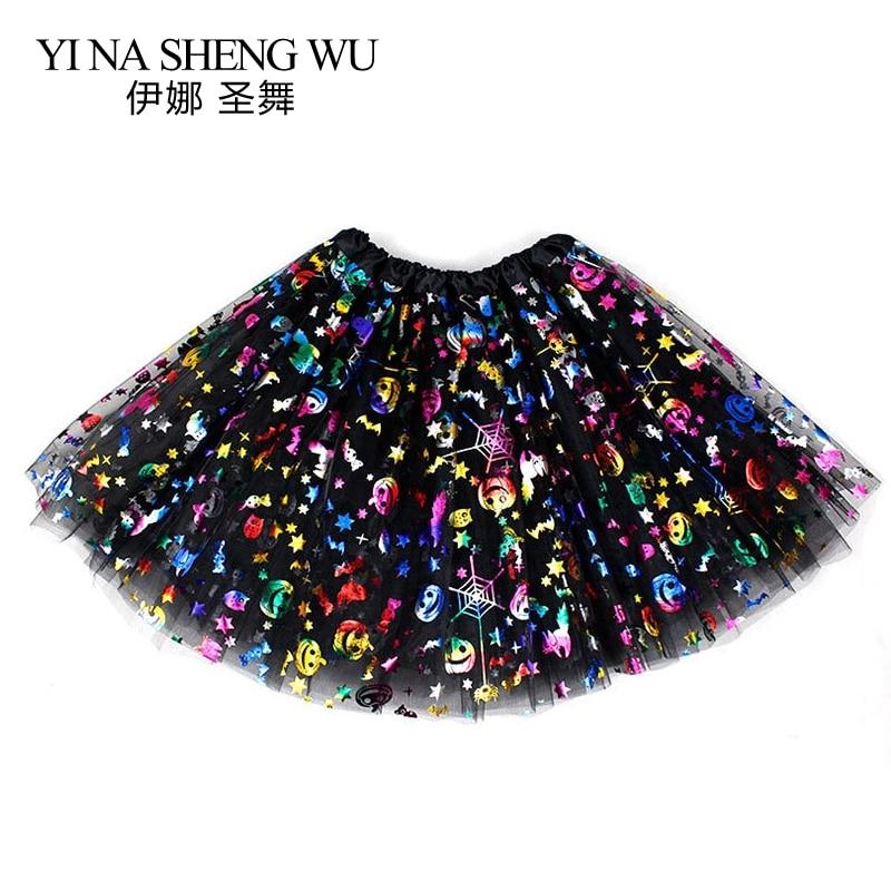 1Pc Halloween Adult Children Tutu Skirt Princess Sequin Mesh Skirt Spider Skull Pumpkin Skirt Halloween Style Jazz Dance Skirt