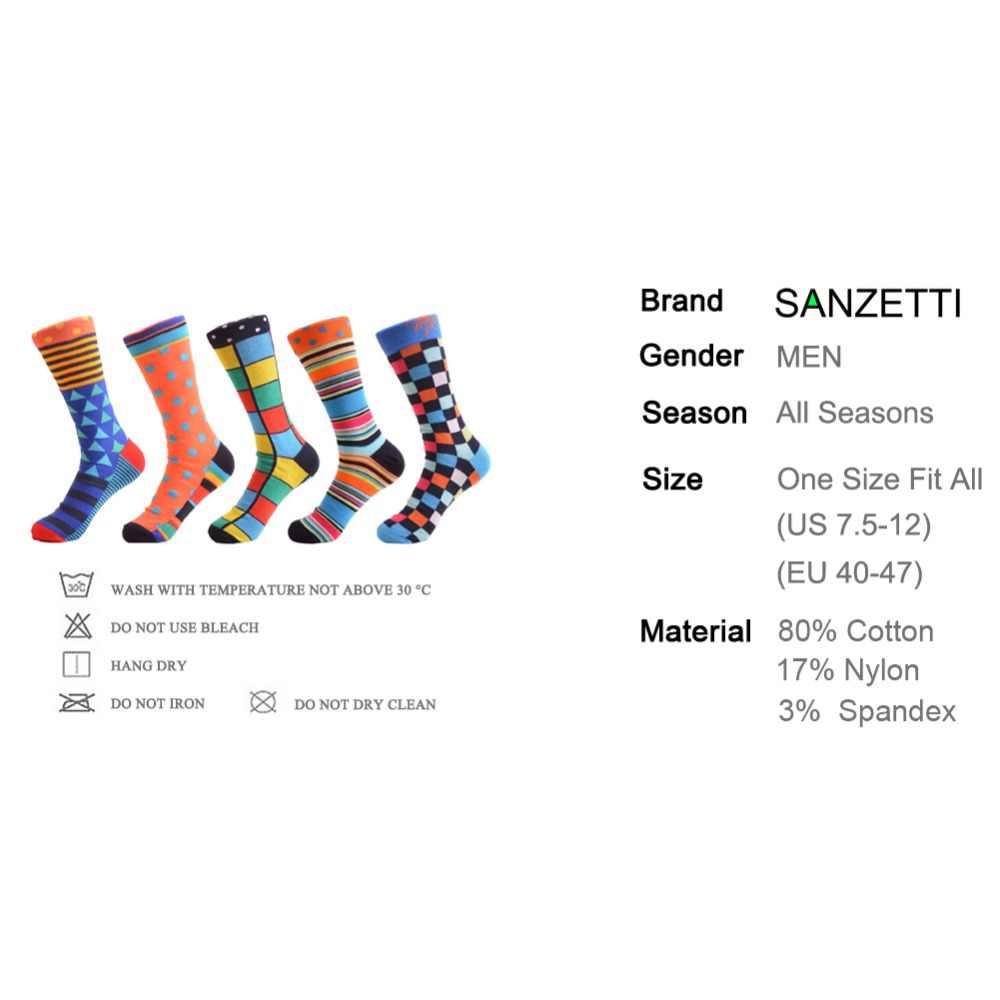 SANZETTI 5 пар/лот красочные Для Мужчин's чесаный хлопковое платье Свадебные носки забавный мужской точка фрукты экипажа Бизнес носки для подарки на день рождения