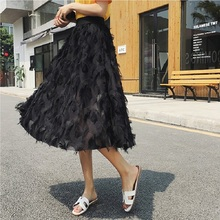 2019 Women Tulle Skirts New Spring Summer Bubble Tassel Skirt Female Tutu Pleated Black White Pink