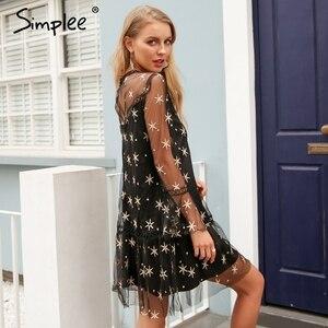 Image 3 - Simplee Mesh star print transparent lace dress women Hollow out long sleeve summer dress Streetwear short casual dress vestidos