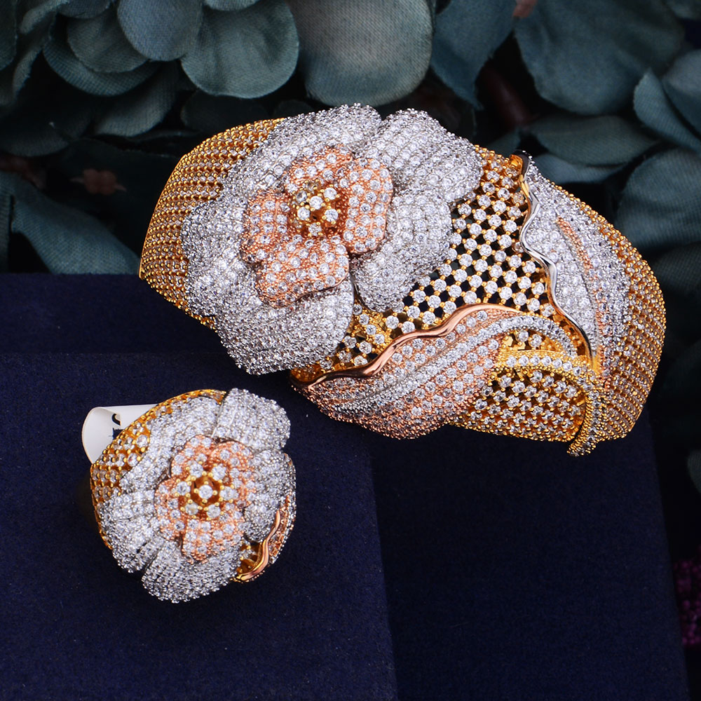 GODKI Begonia Flowers Luxury 3 Tone SunFlower Full AAA Cubic Zirconia Women Bracelet Bangle Ring Set Dress Jewelry Sets flowers mexican sunflower motorola droid 2 skinit skin