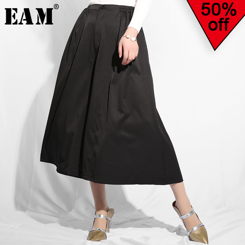 [EAM] 2019 New Autumn Winter High Elastic Waist Black Brief Pleated Loose Wide Leg Pants Women Trousers Fashion Tide WC32