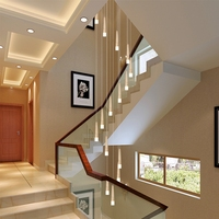 LukLoy Staircase Pendant Light Modern Wooden Cone Long Meteor Loft LED Hanging Lamp Nordic Bar Ceiling Lamps Lighting Fixtures