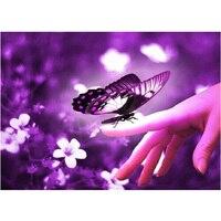 2016 5d diy diamante pittura purple butterfly di cristallo del diamante pittura a ricamo della casa decorativo wall sticker W395