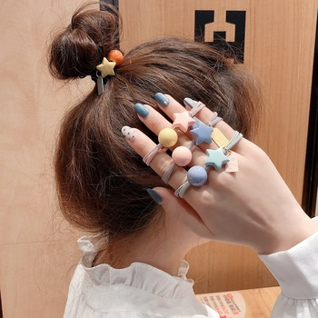Ruoshui Woman Star Round Hair Ties Girls Scrunchies Ponytail Holders Rubber Band Ladies Hair Accessories Candy Elastic Hairband 50 100 pcs girls candy color nylon hair ties small kids elastic hairband children rubber band ponytail holders hair accessories