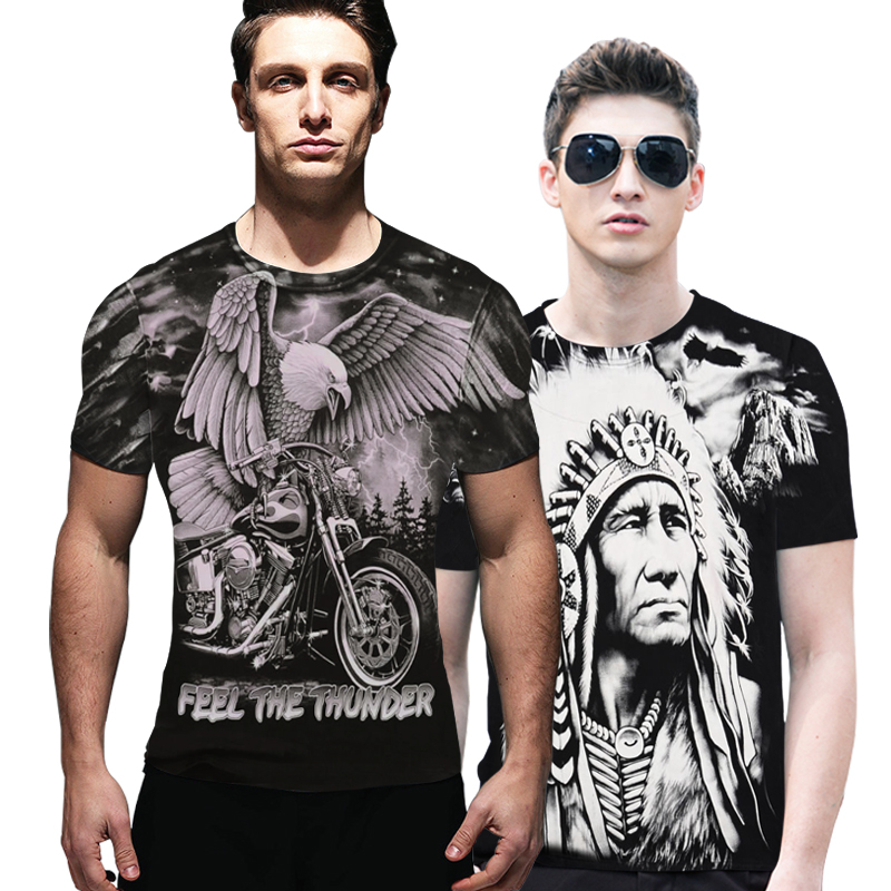 A7 Summer Rock Short Sleeve Skull Wolf Dragon Print 3d T Shirt Men T-shirts Cotton T-shirt Camisetas Black shirts Top Quality
