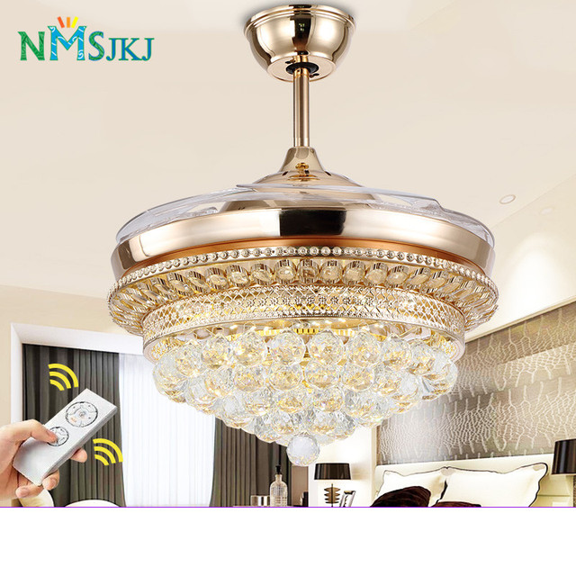 Modern Ceiling Fans Stainless Iron Crystal Remote Control With Lights LED  Folding Ceiling Fan Dining Room