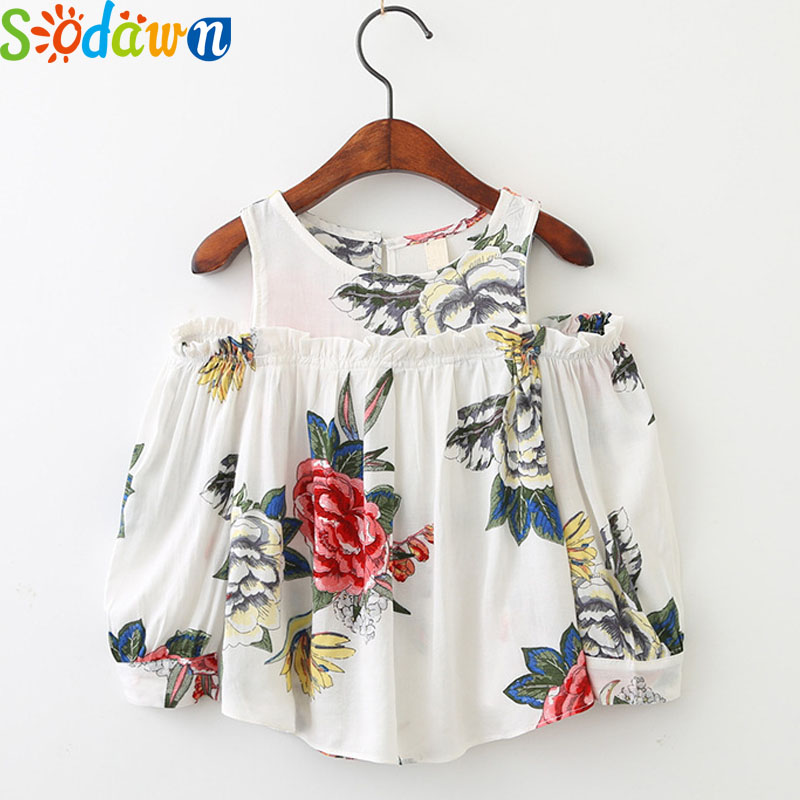 Sodawn Autumn 2017 New Children Clothing Girl Clothes Flowers Printed Ears Strapless Girl Shirt Fashion Long