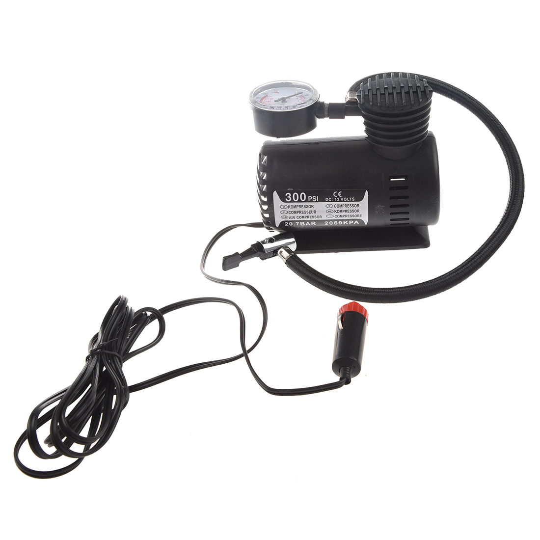 12V Car Auto Electric Pump Air Compressor Portable Tire Inflator 300PSI K590 new arrival 12v 4800pa ac car electric air pump for camping airbed boat toy inflator