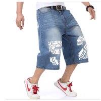 Moto & Biker Style Denim Short Jeans Men 2017 Summer HIP HOP Harlan Straight Loose man Jeans Plus size 30 42 44 44