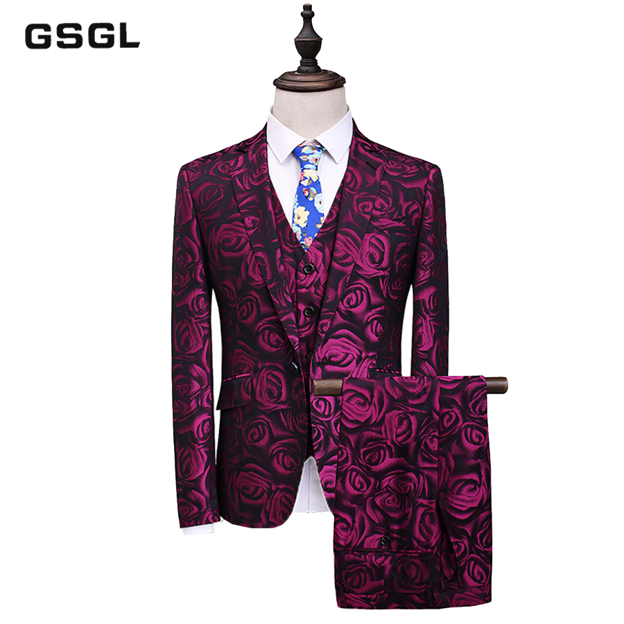Purple Rose Three Piece Suit Male Floral Printed Slim Fit Casual Stage Wedding Suits For Men Plus Size S-5XL Terno Masculino Tux