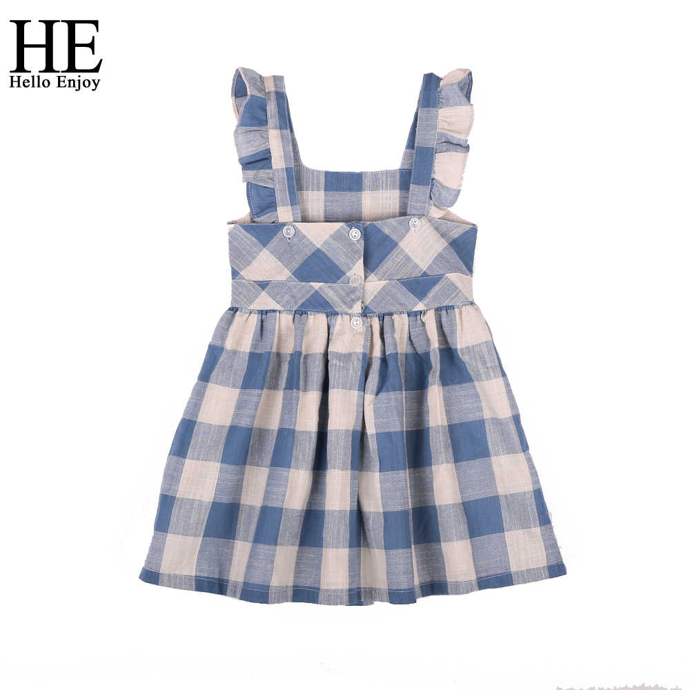 HE Hello Enjoy/Одежда для девочек, летние детские платья для девочек, голубое клетчатое платье принцессы без рукавов с кружевным карманом и открытой спиной, костюм