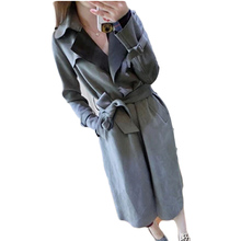 Fashion Suede Trench Coat 2015 Suede Trench Coat With Sashes Women Turn-down Collar chamois leather overcoat abrigos mujer BG932