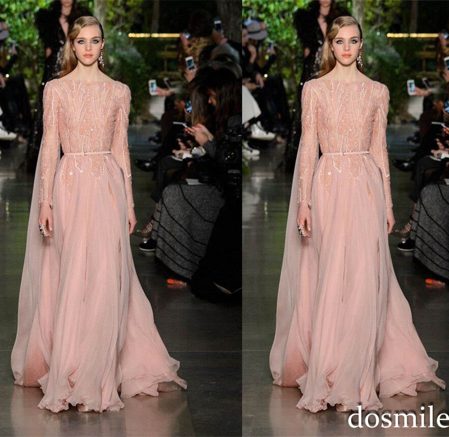 2016 Elie Saab Evening Dresses Bateau Neck Long Sleeves Sequins Beaded Chiffon Celebrity Prom Formal Gowns In From Weddings