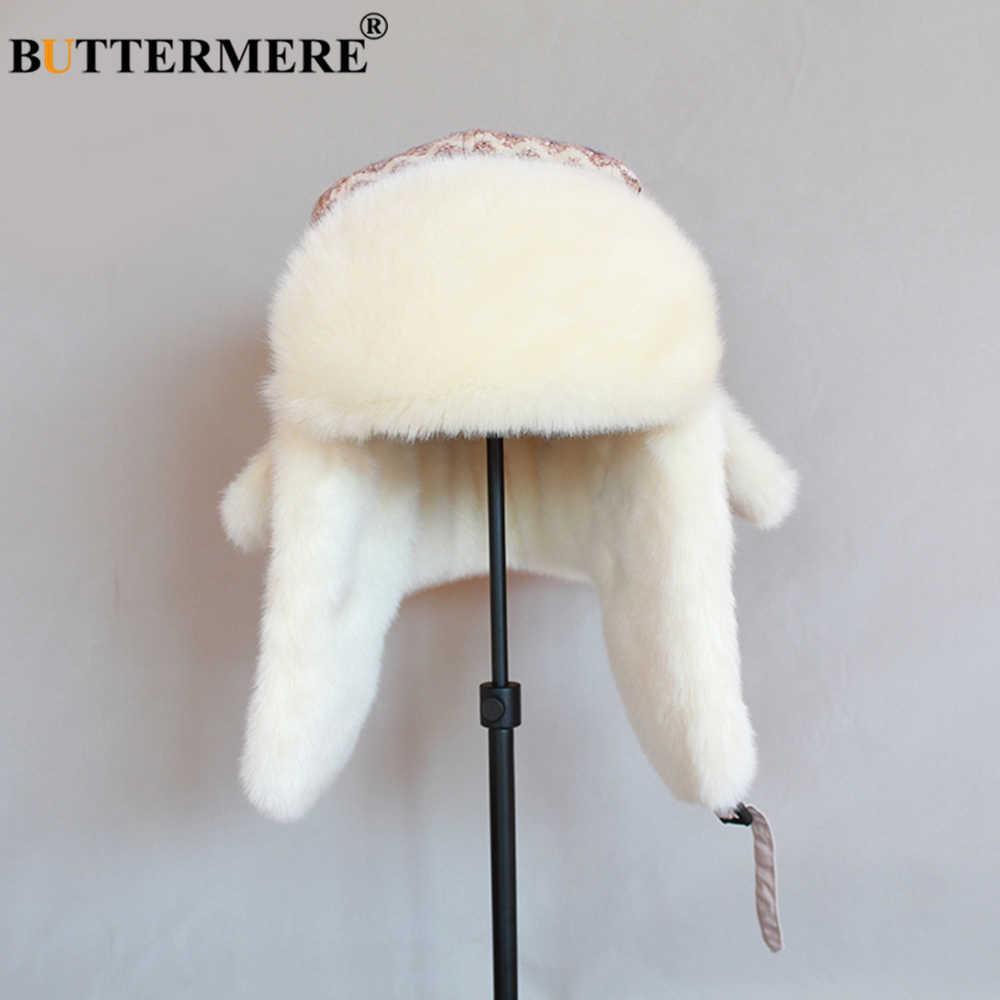 Buttermere Rajutan Bulu Topi Wanita Krem Musim Dingin Pembom Topi dengan Telinga Wanita Wave Bahasa Rusia Hangat Outdoor Wanita Tahan Angin Pilot Topi