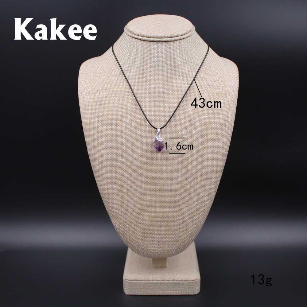 Kakeeトップグレード不規則ナチュラルチャームクリスタル原石アメジストネックレスペンダント用女性コリアー女性ファッションジュエリー