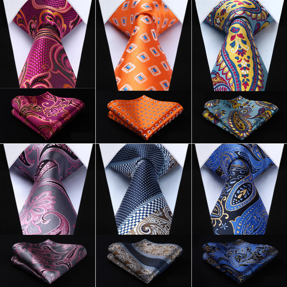 "Men Fashion Tie Paisley 3.4"" Classic Silk Woven Men Pocket Square Party Wedding Business Necktie Handkerchief Set Free shipping"