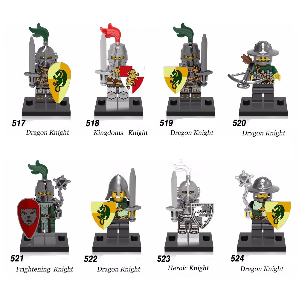 8pcs Medieval Heroic Castle Knights Lion Golden Dragon Compatible Building Block Rome Warrior Knight Figure Model Toy For Childr