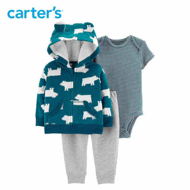 72d5cd274 Carters 3Pcs baby boys clothes set cute ears hooded fleece jacket ...