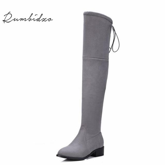 c45931f2fd137 Rumbidzo Women Boots 2018 Winter Autumn Over Knee High Boots Lace Up Flat  Heel Bootie Woman Shoes Botas Feminios