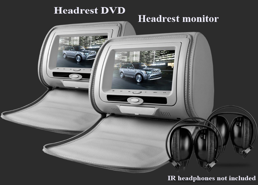 Free shipping one pair 7inch car headrest DVD player,1PC DVD player + 1PC monitor,with z ...